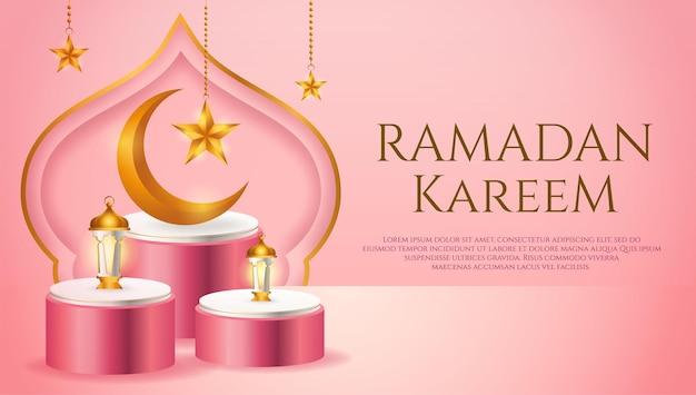 Banner de producto 3d, podio rosa y blanco con temática islámica con luna creciente, linterna y estrella para ramadán