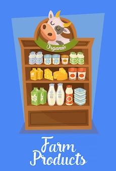 Banner de productos agrícolas con estantes de supermercados