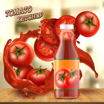 Banner de promoción con una botella de cristal de ketchup realista, con salpicaduras de salsa roja