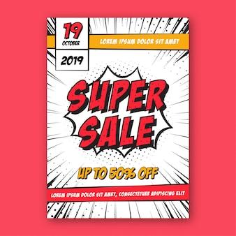Banner de promoción de descuento de super venta de cómics
