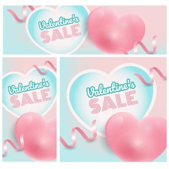 Banner de promoción de felicitación del día de san valentín, descuento para campaña de compras en línea