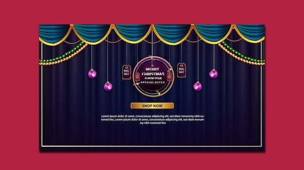 Banner de promoción de feliz navidad y año nuevo de lujo