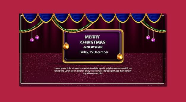 Banner de promoción de feliz navidad y año nuevo