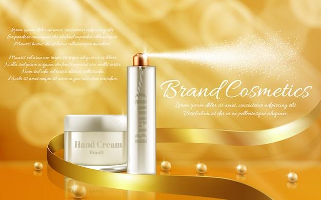 Banner de promoción con frasco de vidrio y botella de spray para productos cosméticos, crema de manos