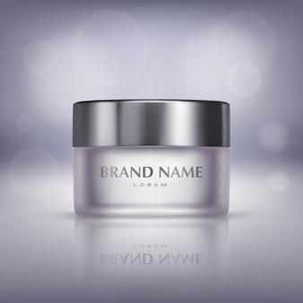 Banner de promoción con frasco de vidrio realista de crema cosmética, botella con máscara hidratante