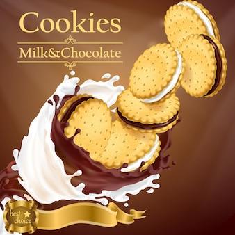 Banner de promoción con galletas realistas volando en leche y salpicaduras de chocolate