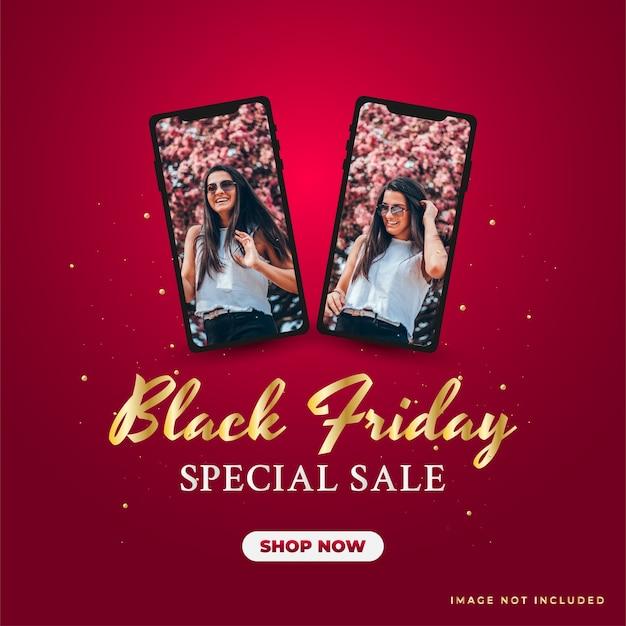 Banner de promoción de gran venta de viernes negro con teléfono inteligente negro sobre fondo rojo