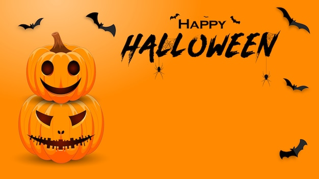 Banner de promoción de halloween con calabaza, murciélagos y araña.
