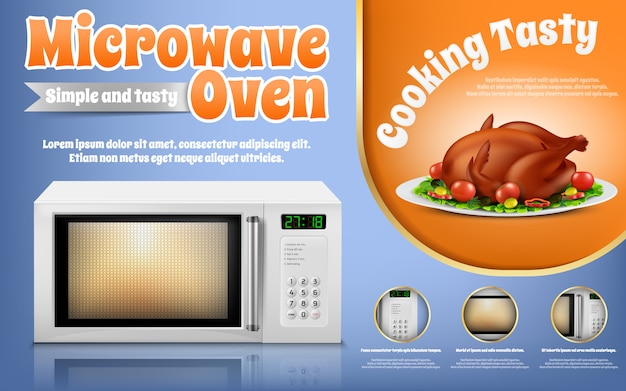 Banner de promoción con horno de microondas blanco realista y pollo asado con verduras