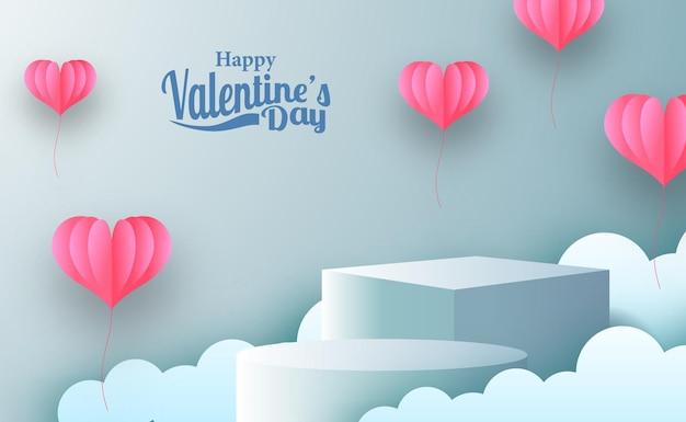 Banner de promoción de marketing de tarjetas de felicitación del día de san valentín con exhibición de productos de podio de escenario vacío con estilo de corte de papel de ilustración de hogar rosa y fondo azul pastel