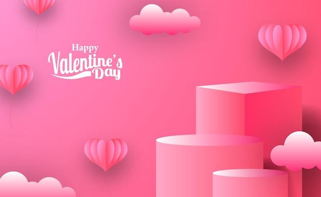 Banner de promoción de marketing de tarjetas de felicitación del día de san valentín con exhibición de productos de podio de escenario vacío con estilo de corte de papel de ilustración de hogar rosa