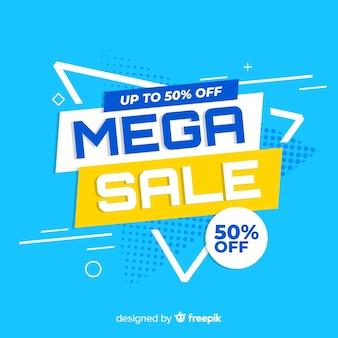 Banner de promoción de mega venta abstracta