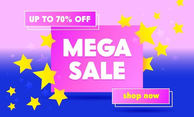 Banner de promoción de mega venta con tipografía sobre fondo azul y rosa con estrellas. ilustración de dibujos animados