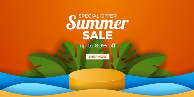 Banner de promoción de oferta de venta de verano con pantalla de podio de cilindro y hojas tropicales verdes