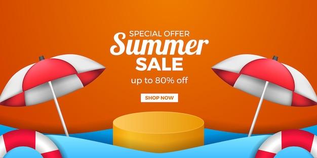 Banner de promoción de oferta de venta de verano con pantalla de podio de cilindro y paraguas