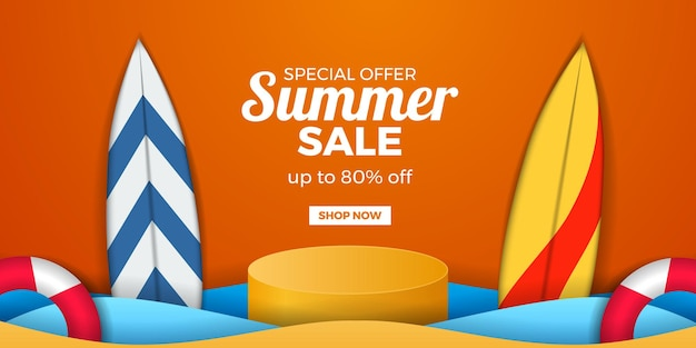 Banner de promoción de oferta de venta de verano con pantalla de podio de cilindro y tabla de surf