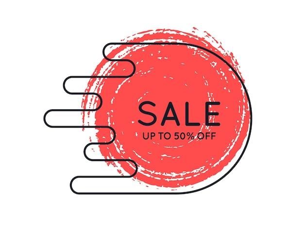 Banner de promoción original con pincel, fondo de ventas, etiqueta de precio. ilustración vectorial