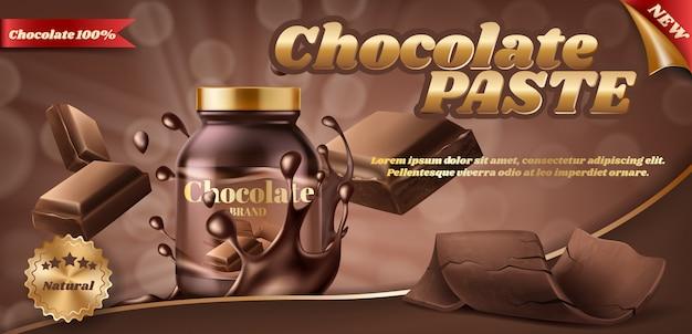 Banner de promoción de pasta de chocolate o mantequilla de nuez en frasco de plástico.