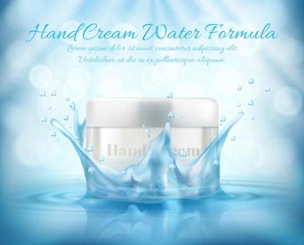 Banner de promoción realista 3d, simulacro con tarro de vidrio de cosméticos, crema de manos