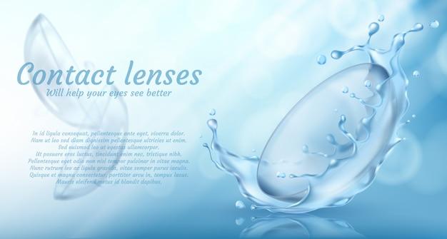Banner de promoción realista con lentes de contacto en salpicaduras de agua para el cuidado de los ojos