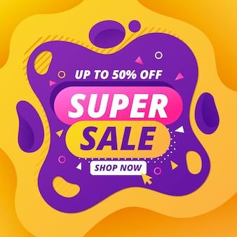 Banner de promoción de super venta abstracta