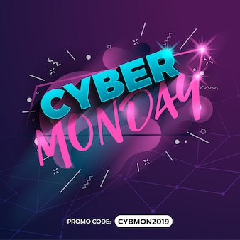 Banner de promoción de venta de cyber monday con campo de código de promoción
