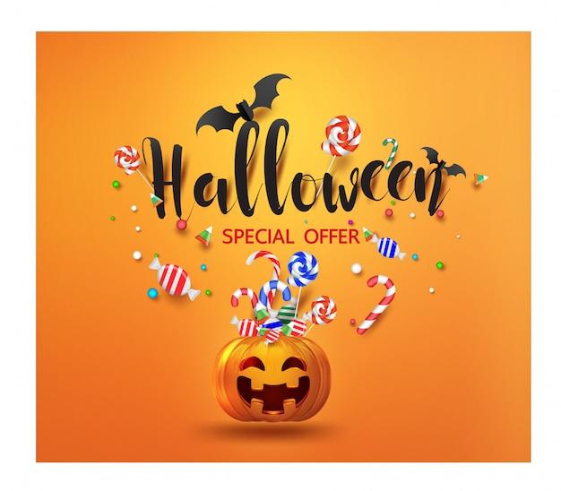 Banner de promoción de venta con dulces de halloween y sonriente calabaza de halloween