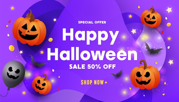 Banner de promoción de venta de feliz halloween creativo con caras de miedo calabazas