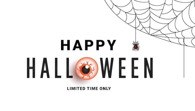 Banner de promoción de venta de halloween con arañas de ojos de miedo