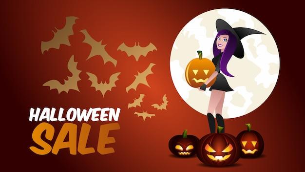 Banner de promoción de venta de halloween. bruja y calabaza
