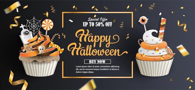 Banner de promoción de venta de halloween con oferta de descuento en ocasiones especiales.