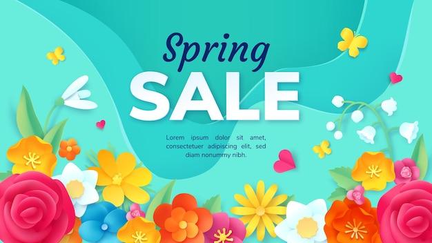Banner de promoción de venta de primavera con flores de papel cortadas. cartel con decoración floral de origami 3d. diseño de vector de oferta de descuento de producto de moda. rose, may lily y snowdrop florecen para el comercio.