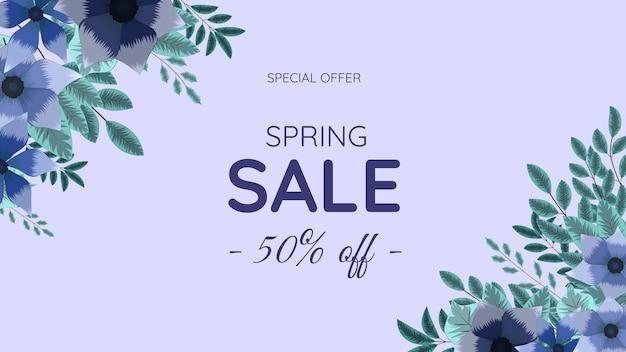 Banner de promoción de venta de primavera fondo de marco de flor editable hermoso