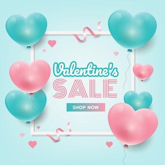 Banner de promoción de venta de san valentín con corazones 3d, banner de sitio web, folleto ilustración vectorial