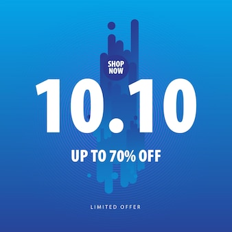 Banner de promoción de venta sobre fondo azul