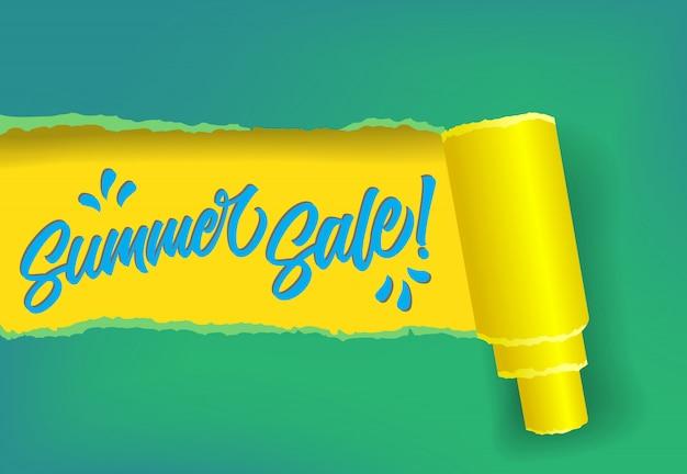 Banner de promoción de venta de verano en colores amarillo, azul y verde.
