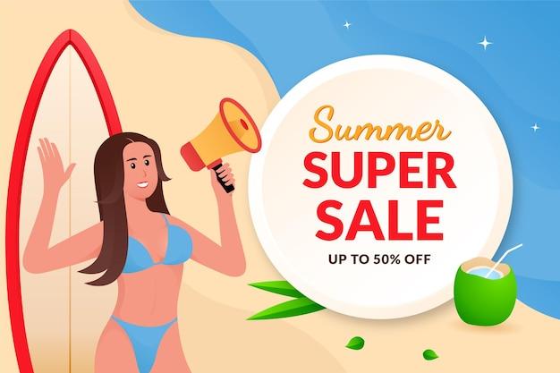Banner de promoción de venta de verano con mujer en bikini sosteniendo megáfono