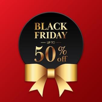 Banner de promoción de venta de viernes negro y descuento de oferta especial.