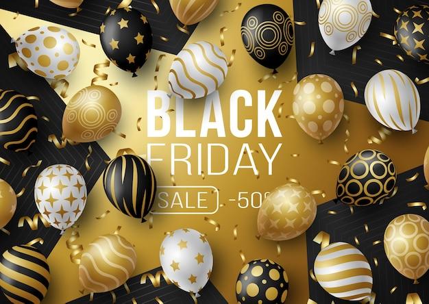 Banner de promoción de venta de viernes negro con globos. oferta especial 50% de descuento en venta en color negro y dorado.