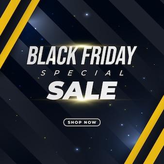 Banner de promoción de venta de viernes negro con luz brillante sobre fondo oscuro