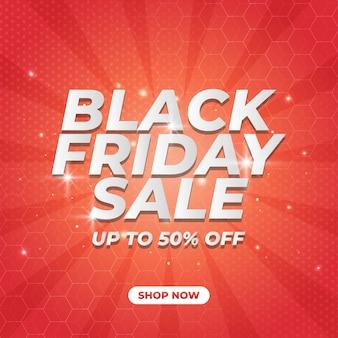 Banner de promoción de venta de viernes negro con patrón de semitonos sobre fondo rojo