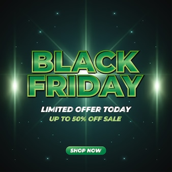 Banner de promoción de venta de viernes negro con texto verde