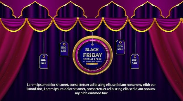 Banner de promoción de viernes negro de lujo con oferta especial islámica.