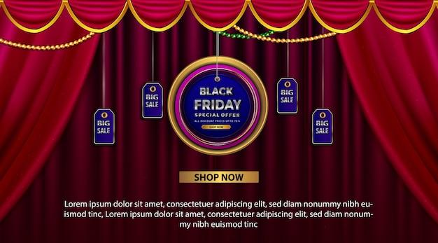 Banner de promoción de viernes negro con oferta especial todo descuento.