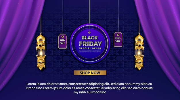Banner de promoción de viernes negro resplandor linterna árabe oro con oferta especial