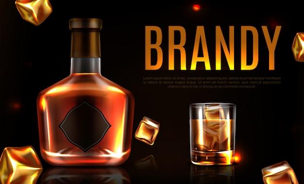 Banner promocional de botella y vaso de brandy