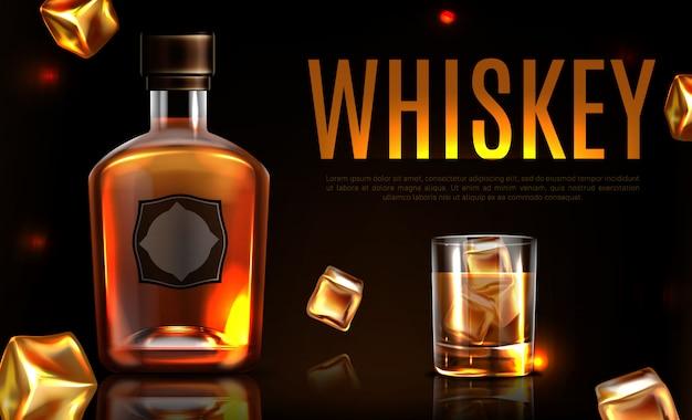 Banner promocional de botella y vaso de whisky