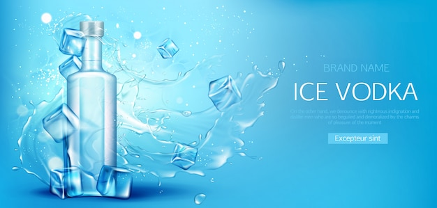 Banner promocional de botella de vodka con cubitos de hielo