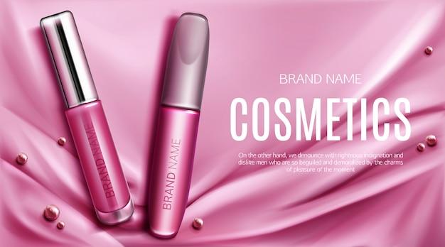Banner promocional de brillo de labios y tubos de rimel
