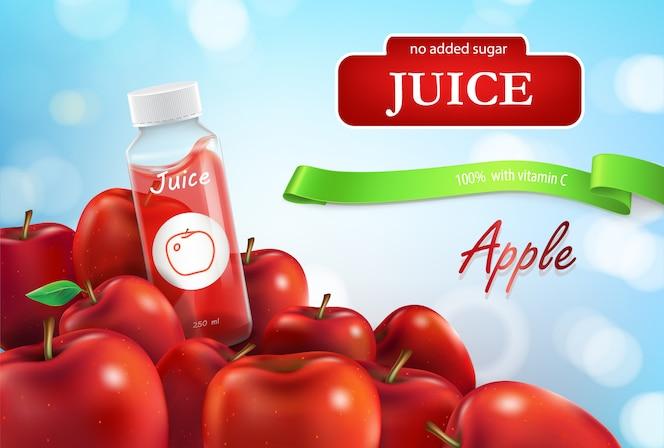 Banner promocional de jugo de manzana, cartel para publicidad de líquido en botella de plástico